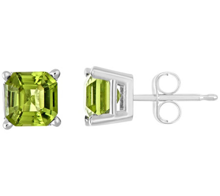 Sterling Asscher-Cut Gemstone Stud Earrings