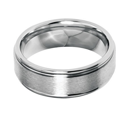 Stainless Steel 8mm Grooved Edge Brushed & Polished Ring