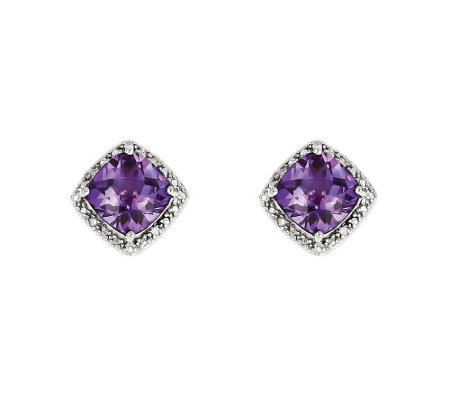Sterling Silver Faceted Cushion-Cut Gemstone Stud Earrings