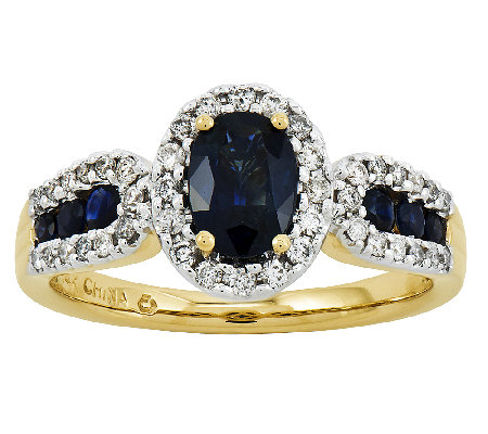 Oval Gemstone and 1/6 ct tw Diamond Ring, 14K Y ellow Gold