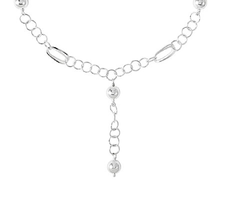 "Sterling Silver 16"" Polished Bead Station DropNecklace"
