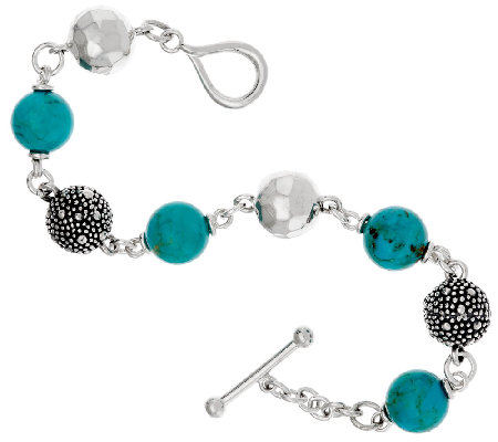 Michael Dawkins Sterling Starry Night & Turquoise Bead Toggle Bracelet