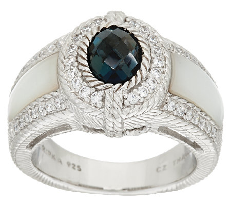 Judith Ripka Sterling 1.35ct London Blue Topaz & MOP Ring