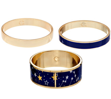 C. Wonder Set of 3 Celestial Print Enamel Slip-On Bangles