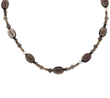 """As Is"" Carolyn Pollack Sterl. Smoky Quartz & Hematite Bead Necklace"