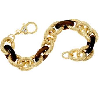 Judith Ripka 7 1 4 Verona Gemstone Link 14k Clad Bracelet 35 8g