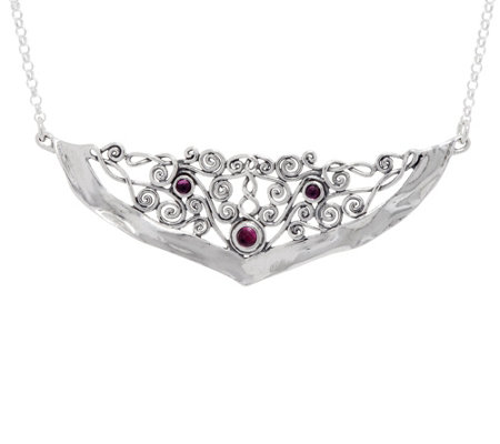Or Paz Sterling Silver Lace Front Gemstone Necklace