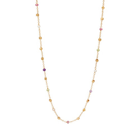 "Italian Gold 24"" Multi-Bead Gemstone Necklace 14K Gold, 3.5g"