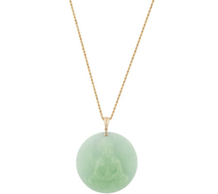 "Bold Jade Carved Buddha Pendant on 30"" Chain 14K Gold"