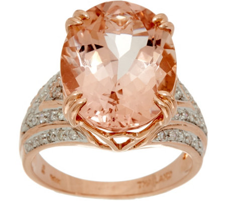 """As Is"" Oval Morganite & Diamond Bold Ring 14K Gold 7.00 cts"