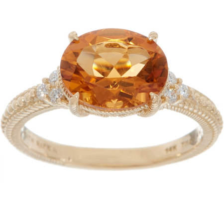 Judith Ripka 14K Gold 1.95 cttw Citrine & Diamond Ring