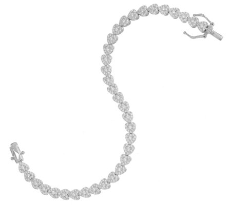 Diamonique Pave Heart Tennis Bracelet Sterling or 18K Gold Plated