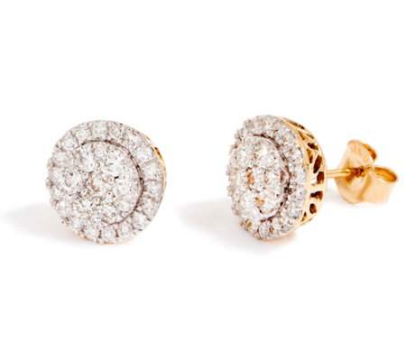 """As Is"" Round Cluster Diamond Stud Earrings, 14K, 1.00 cttw, by Affinity"