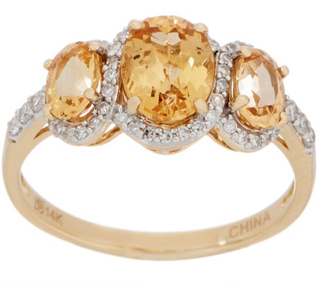 Imperial Topaz Three Stone Ring, 2.00 cttw, 14K Gold