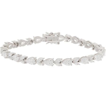 Diamonique Pear and Marquise Tennis Bracelet Platinum Clad