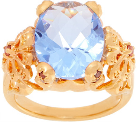 TOVA for Diamonique Blue Grotto Ring, 14K Gold Clad