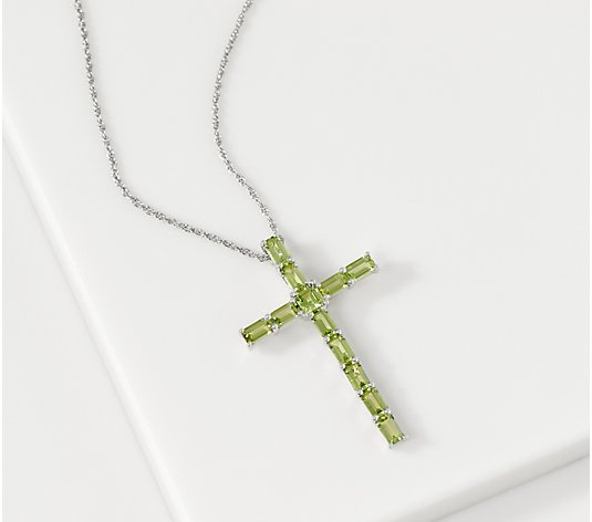 "Gemstone Cross Pendant with 18"" Chain Sterling Silver"