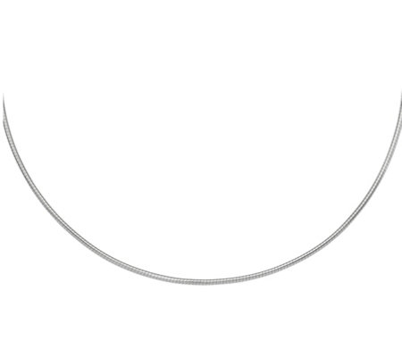 "14K White Gold 2mm Round 18"" Omega Necklace, 13.7g"