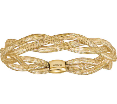 14K Braided Mesh Slip-on Bracelet, 2.9g