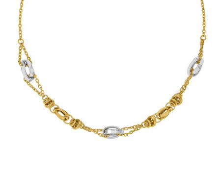 Italian Gold Two-Tone Overlapping Links Necklace 14K, 7.9g