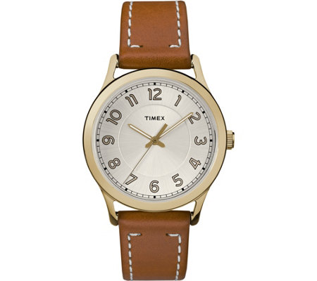 Timex Women's New England Brown Leather Strap Watch