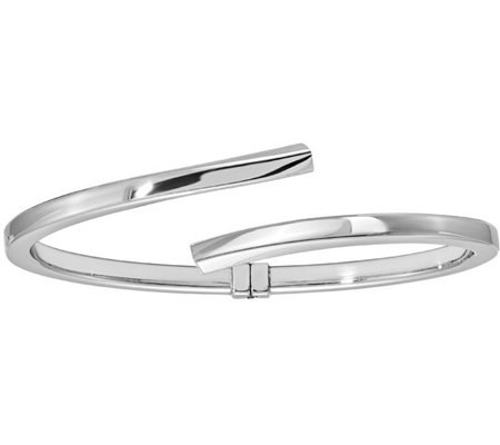 Italian Silver Bypass Hinged Bangle Sterling, 12.3g