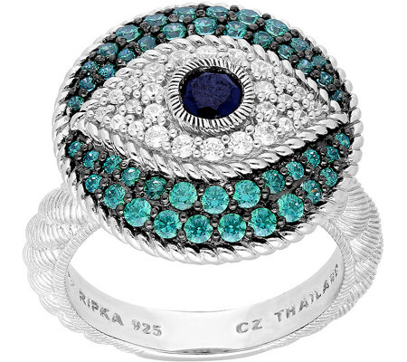 Judith Ripka Sterling Silver Evil Eye Diamonique Ring
