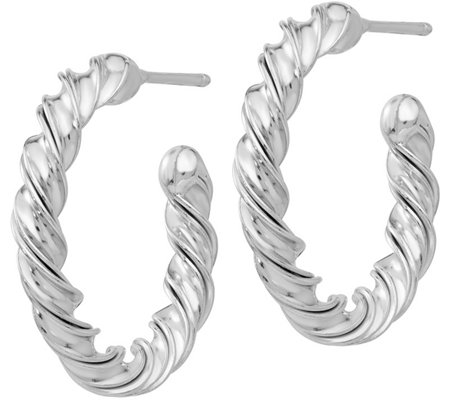 Italian Silver Twisted Grooved Post-Hoop Earrings, Sterling