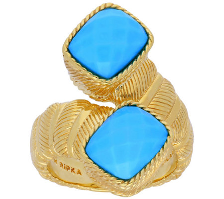 Judith Ripka 14K Clad Turquoise Bypass Ring