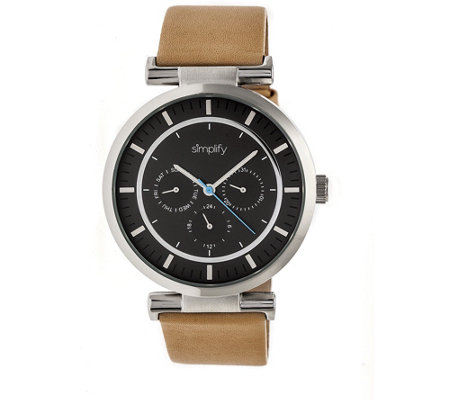 Simplify Tan Leather Strap Watch with Black Dial