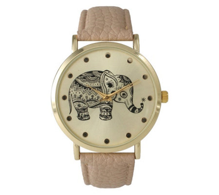 Olivia Pratt Women's Tribal Elephant Leather Watch