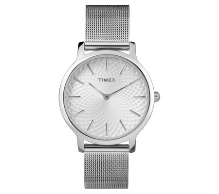 Timex Ladies Metropolitan Silvertone Mesh Analog Watch