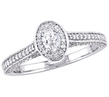 Affinity 14K Gold 7/10 cttw Oval-Cut Diamond Halo Ring