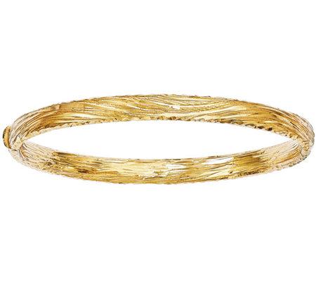 Italian Gold Grooved Diamond Cut Bangle 14k 10 6g