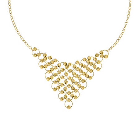 Italian Gold Beaded Bib Necklace 14K, 14.8g