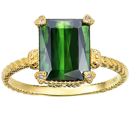 Judith Ripka 14K Gold 2.80 cttw Green Tourmaline Ring