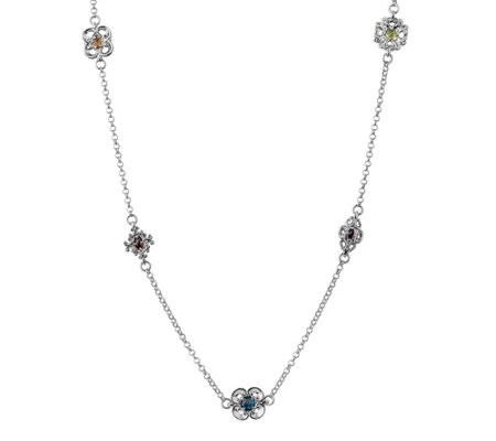 Carolyn Pollack Sterling Harmony Gemstone Station Necklace