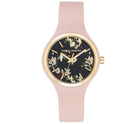 Vince Camuto Women's Floral Light Pink SiliconeStrap Watch