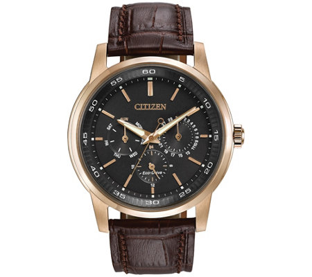 Citizens Men's Dress Eco-Drive Black Dial Leather Strap Watch