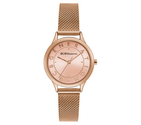 BCBGeneration Women's Rosetone Mesh Bracelet Watch