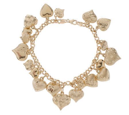 7 1 4 Inch Diamond Cut Multi Heart Charm Bracelet 14k Gold