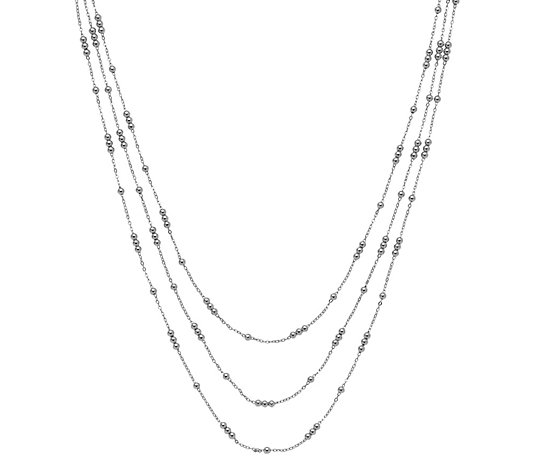Italian Silver 3-Strand Bead Station Layered Necklace