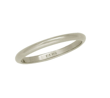EternaGold 2mm Polished Silk Fit(R) Band Ring,14K White Gold