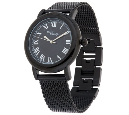Stainless Steel Round Case Mesh Strap Watch