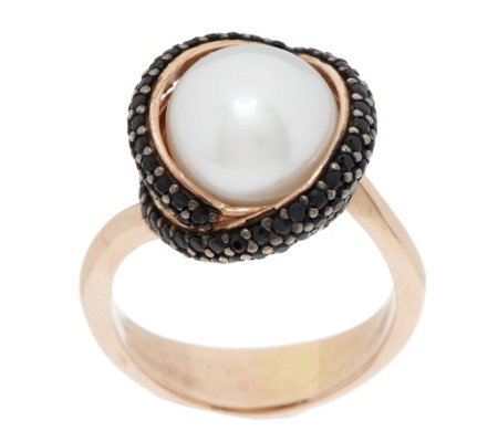 Honora Cultured Pearl 10.0mm & Gemstone Crossover Bronze Ring