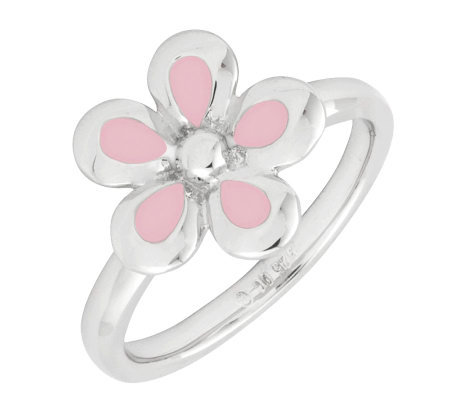 Simply Stacks Sterling Polished & Epoxy EnamelFlower Ring
