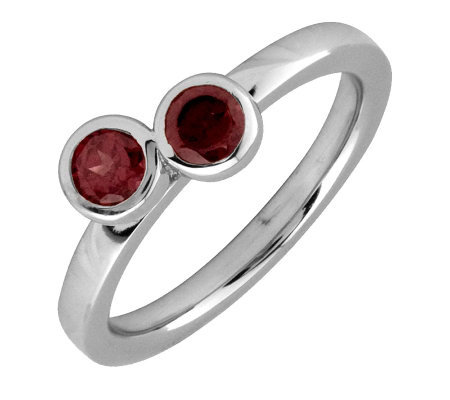 Simply Stacks Sterling & Garnet Double Circle Ring