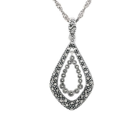 Suspicion Sterling Marcasite Nested Enhancer with Chain