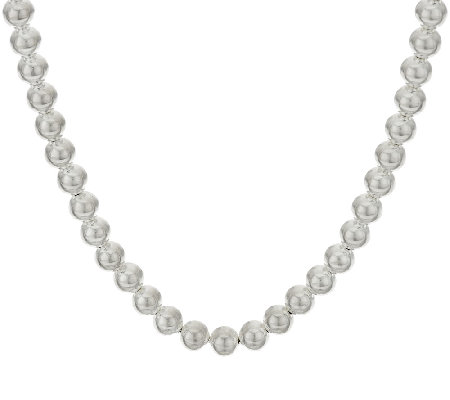 "UltraFine Silver 36"" Polished 8mm Bead Necklace, 37.1g"