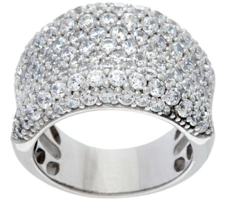 Diamonique Bold Concave Band Ring, Sterling or 14K Clad